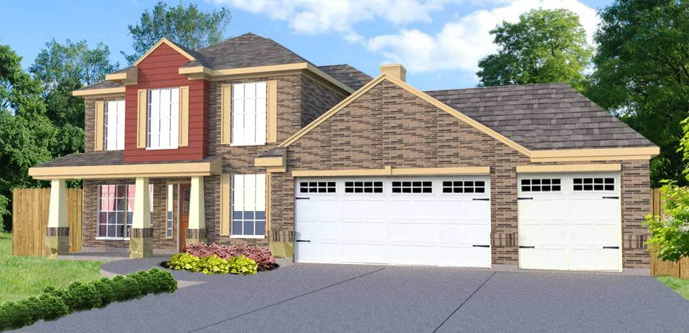home design model with 3 car garage