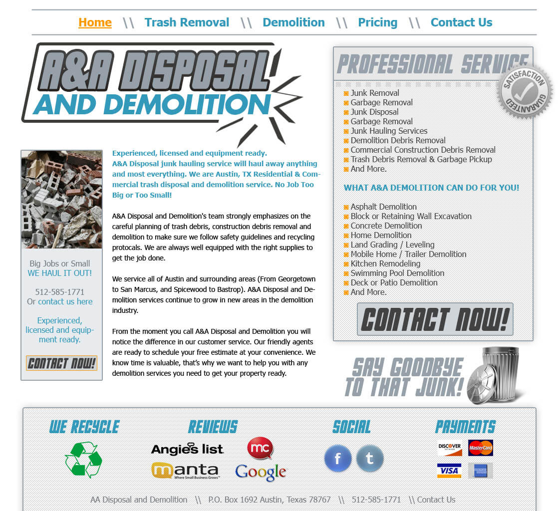demolition website design