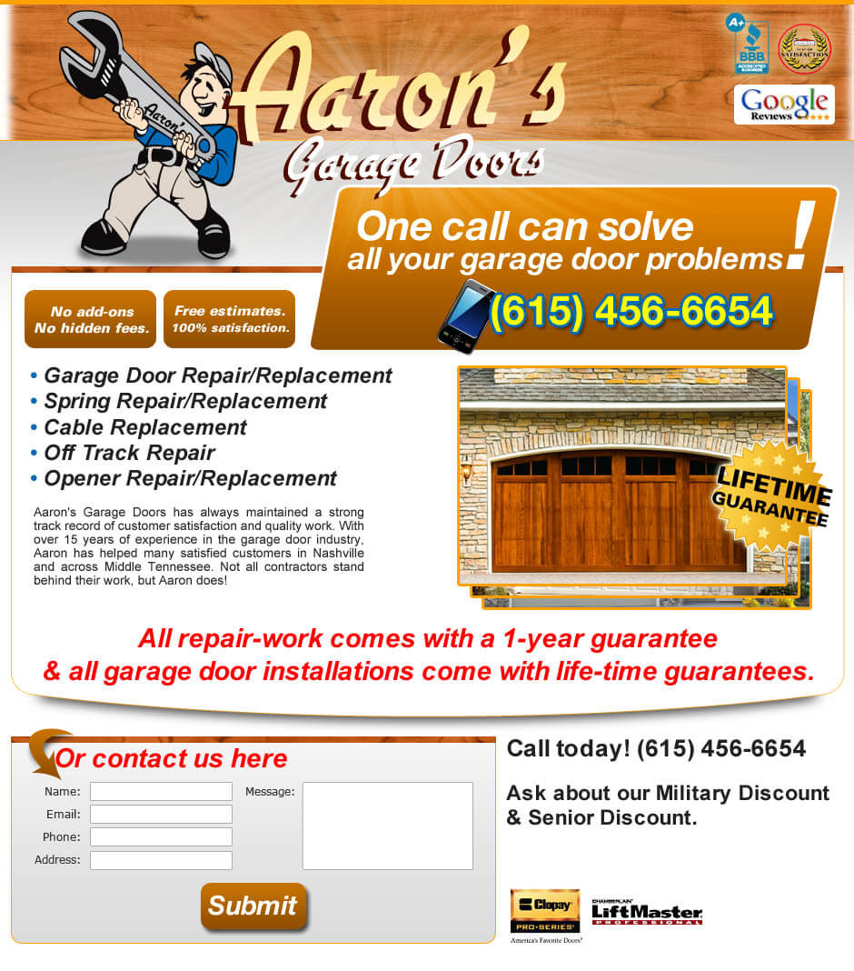 garage door landing page website design