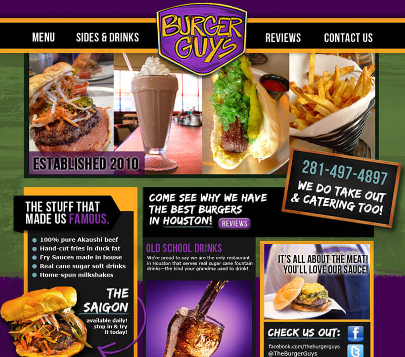 diner burger website design
