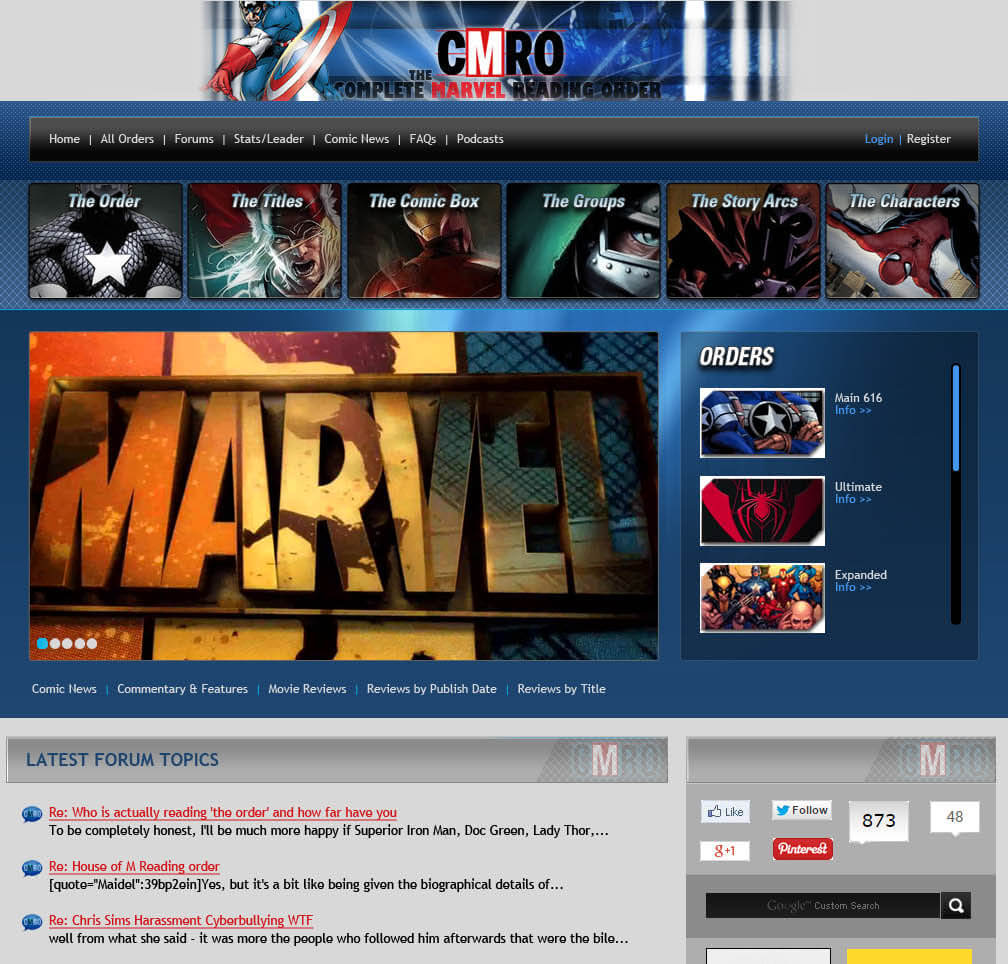 comic book store website design