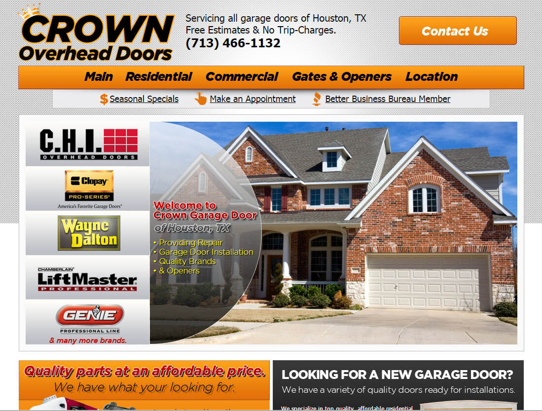 overhead door website design