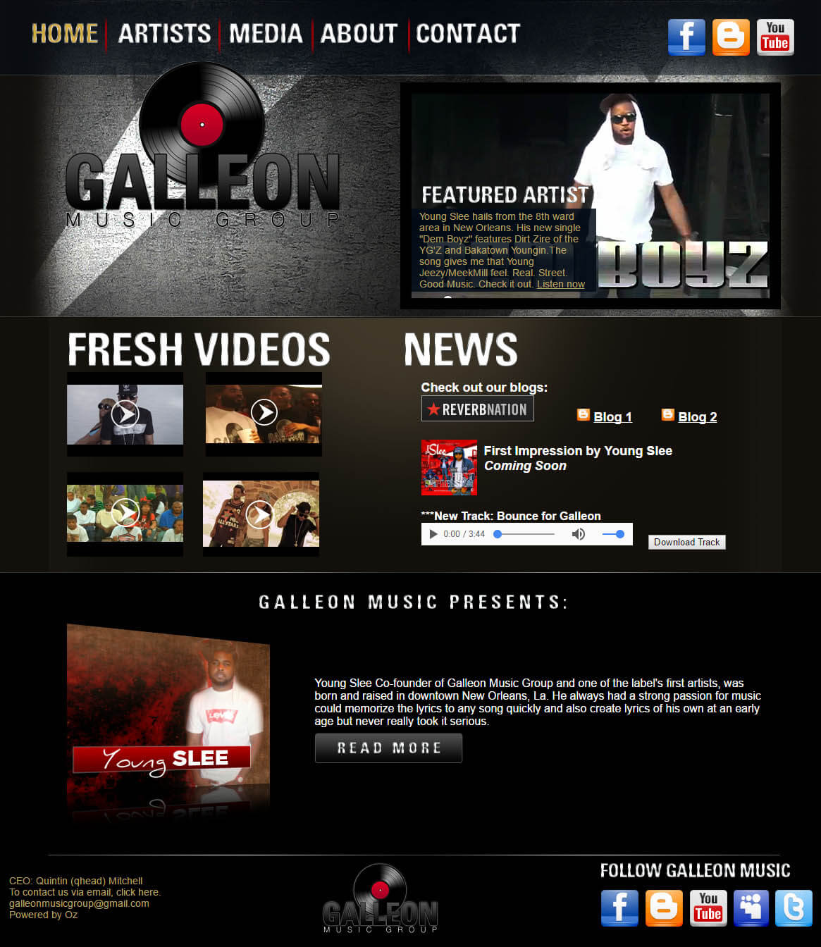music group website design
