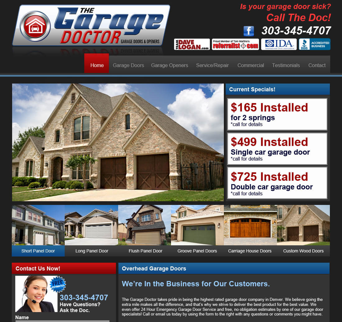 residential door website design