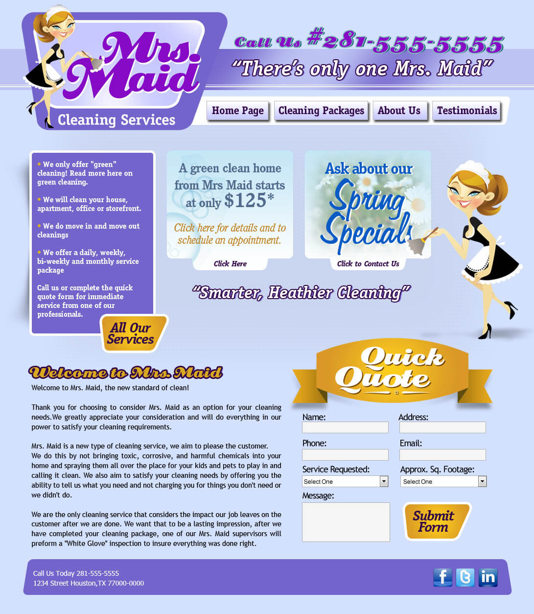 maid service website design