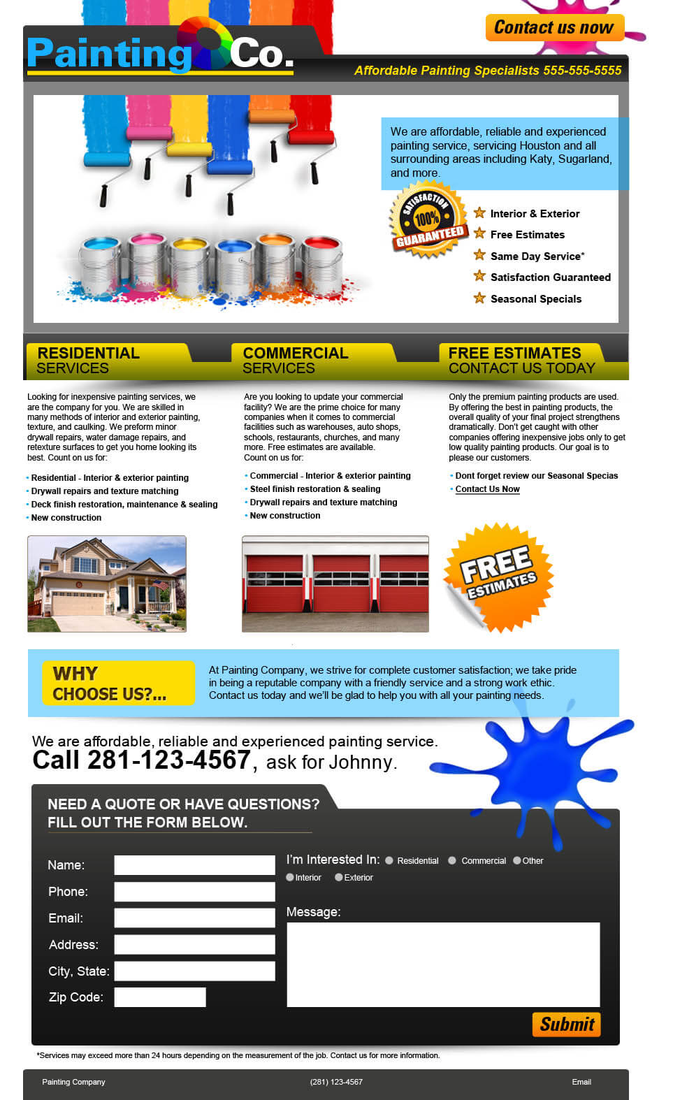 residential painting company website design