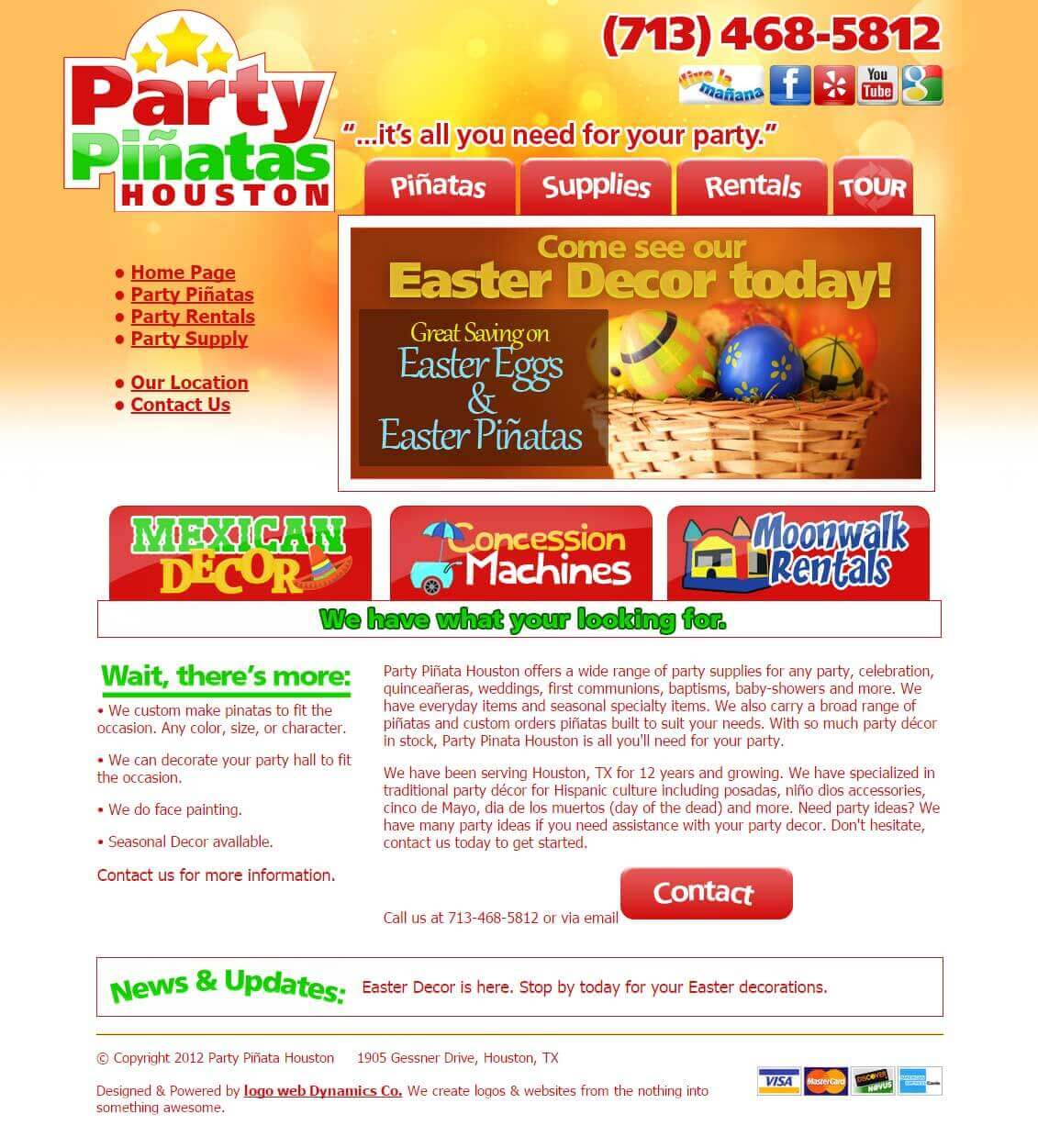 party pinatas designed websites